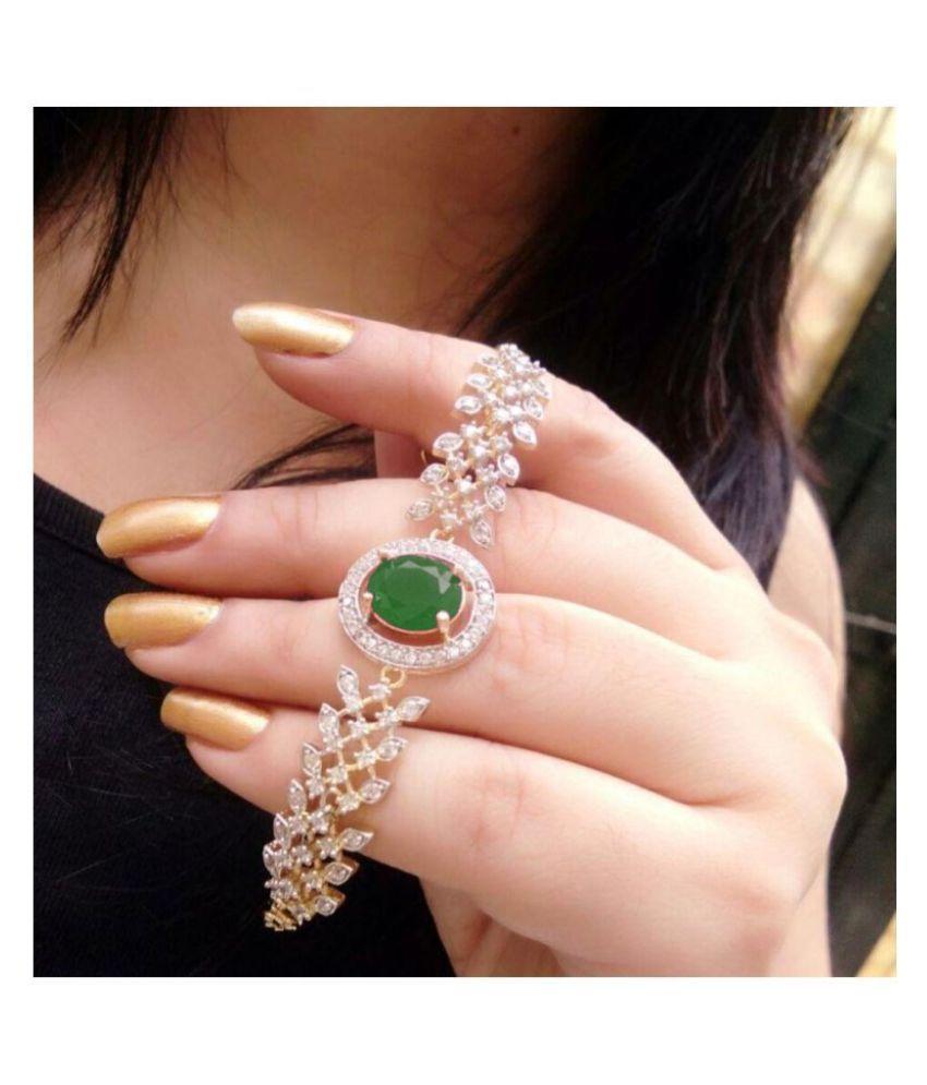 Gilher American Diamond Adjustable Size Bracelet For Women And Girls