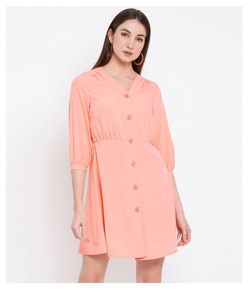 Oxolloxo Polyester Orange A- line Dress