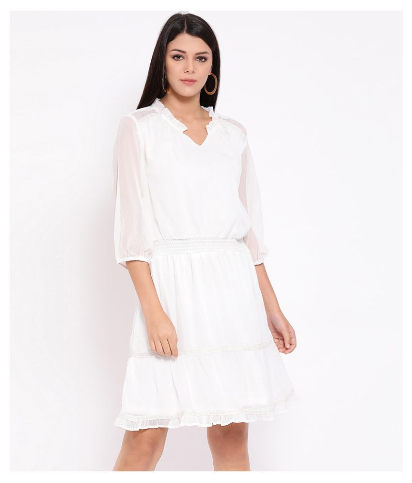 Oxolloxo Polyester White A- line Dress