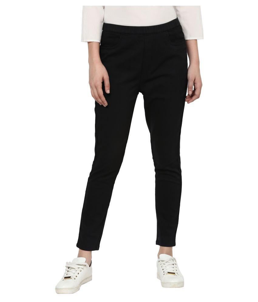 Urbano Fashion Cotton Lycra Jeggings - Black