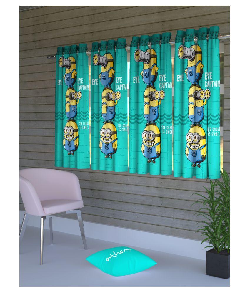 Minions Set of 4 Long Door Semi-Transparent Eyelet Polyester Curtains Green