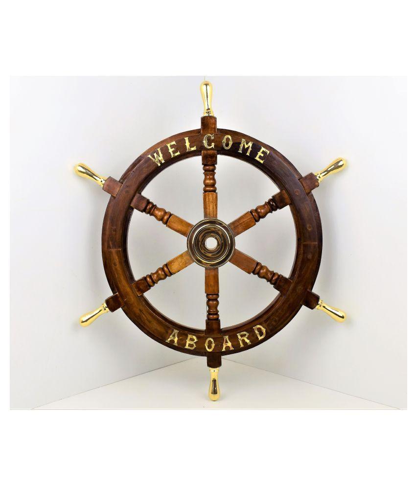 Noor Handicrafts Wood Wooden Ship Wheel 18