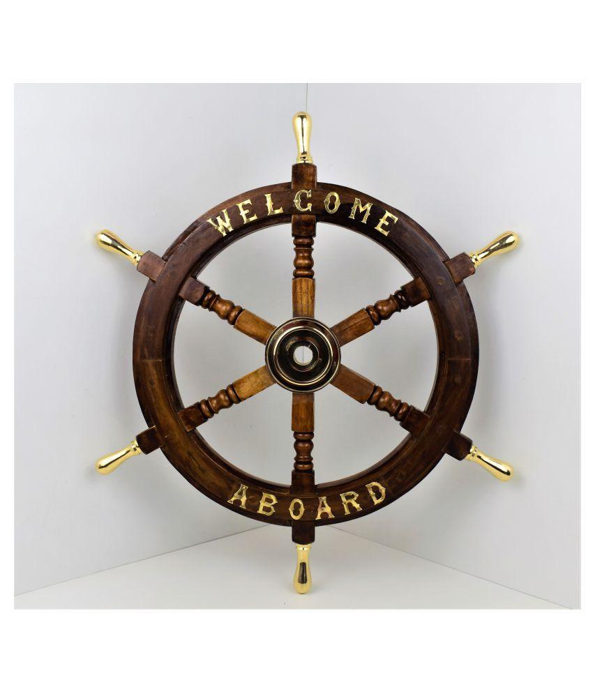 Noor Handicrafts Wood Wooden Ship wheel 12