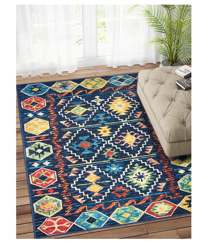 Status Blue Polyester Carpet Abstract 3x5 Ft