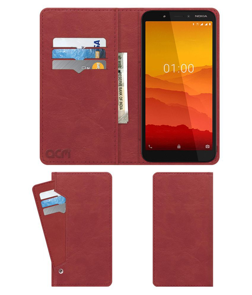 Nokia C1 Flip Cover by ACM - Pink Wallet Case,Peach Pink