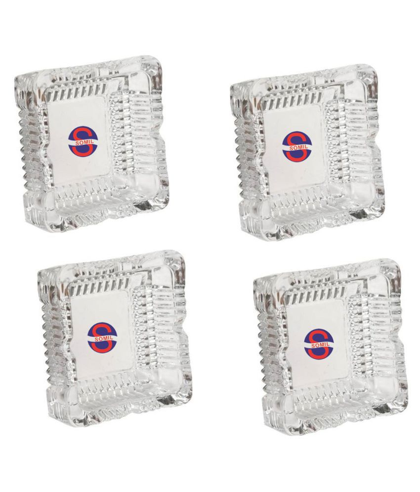 Somil Design & Decorative Glass Ash Tray, Stains And Spots Free For Bar & Home, Set Of 4, Square