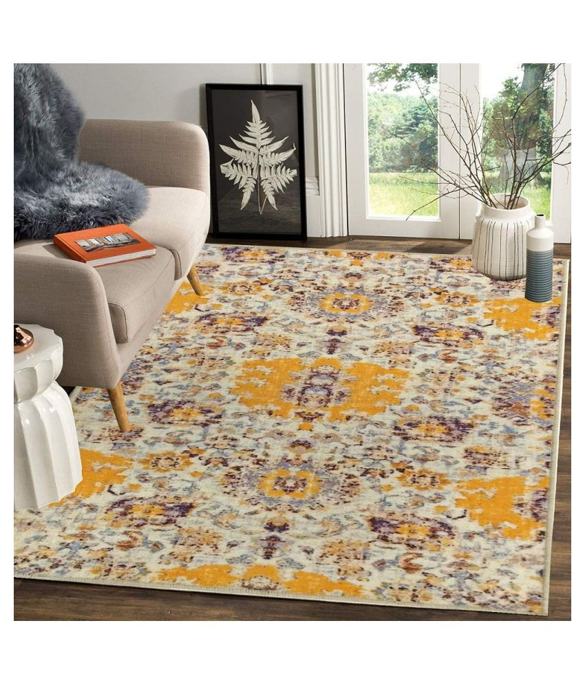 Status Yellow Polyester Carpet Abstract 3x5 Ft