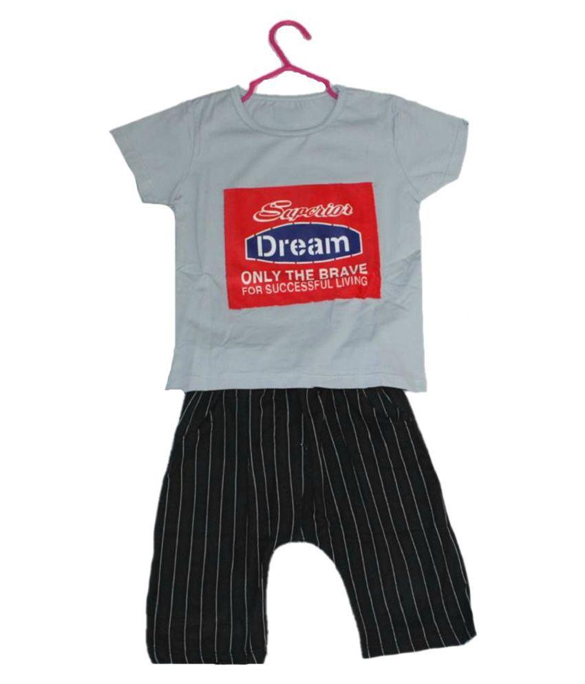 Krivi kids Multi Color Half Sleeves T-Shirt  & Short  Set For Baby boy's .
