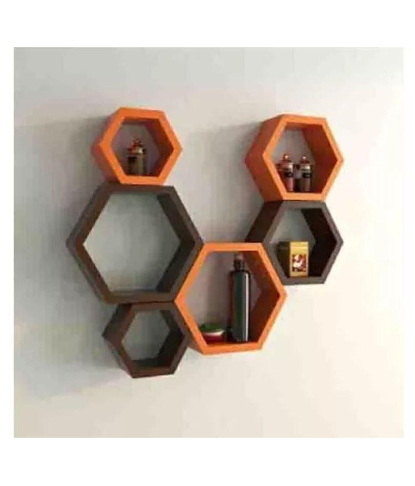 Onlineshoppee Fancy Set of 6 Hexagonal Shape MDF Wall Shelf Big Color- Orange & Brown