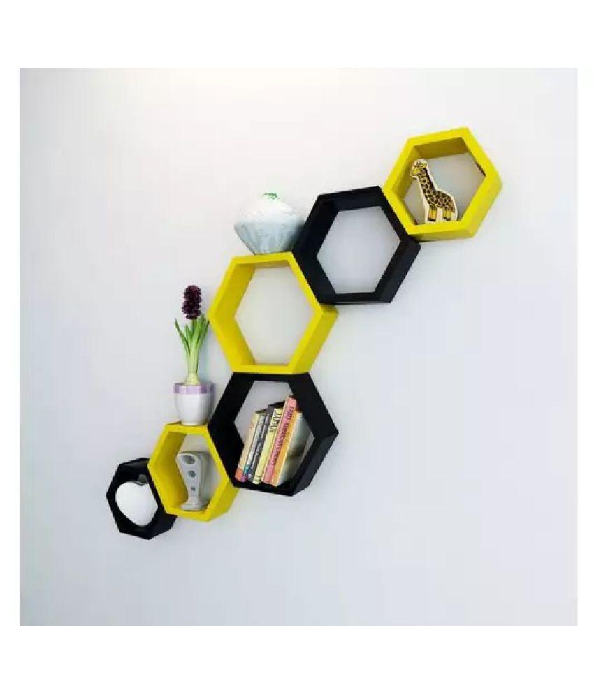 Onlineshoppee Fancy Set of 6 Hexagonal Shape MDF Wall Shelf Big Color- Yellow & Black