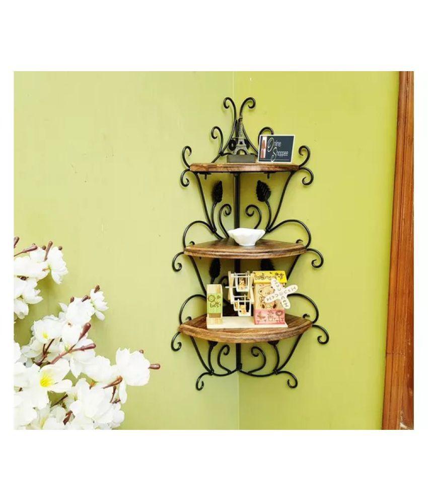 Onlineshoppee Wooden  amp; Iron Corner Rack Home Decor Corner Shelves