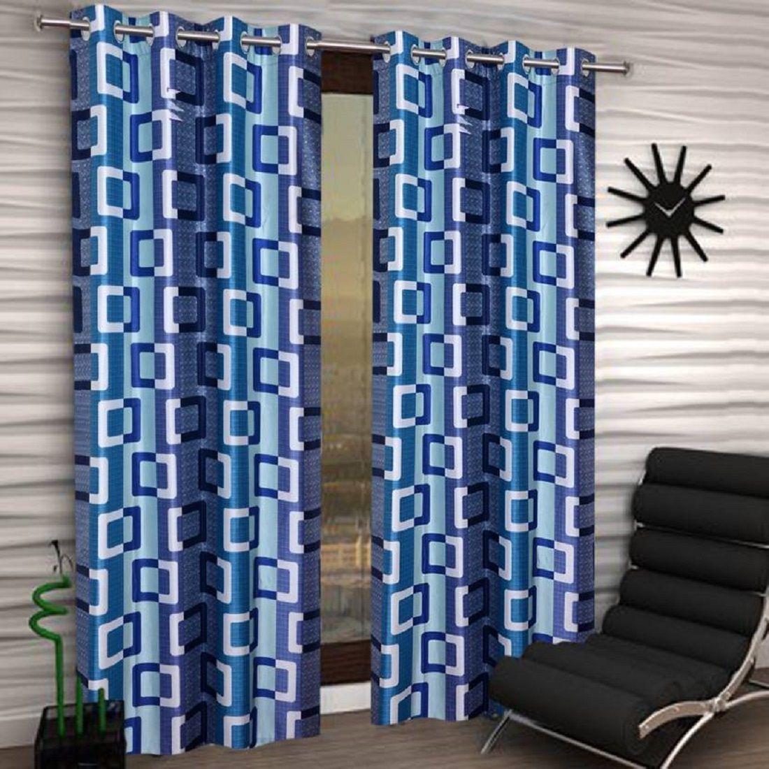 Tanishka Fabs Single Window Semi-Transparent Eyelet Polyester Curtains Blue