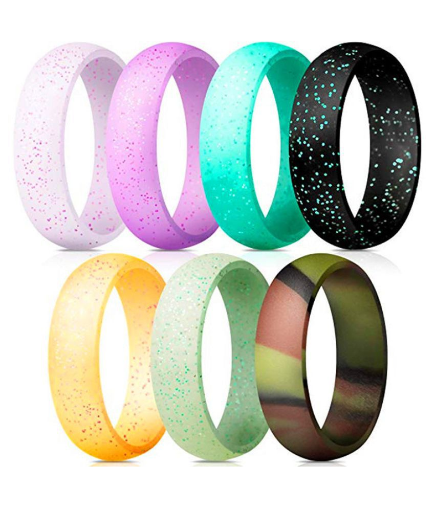 7Pcs 6mm Wide Universal Silicone Ring Fashion Jewellery