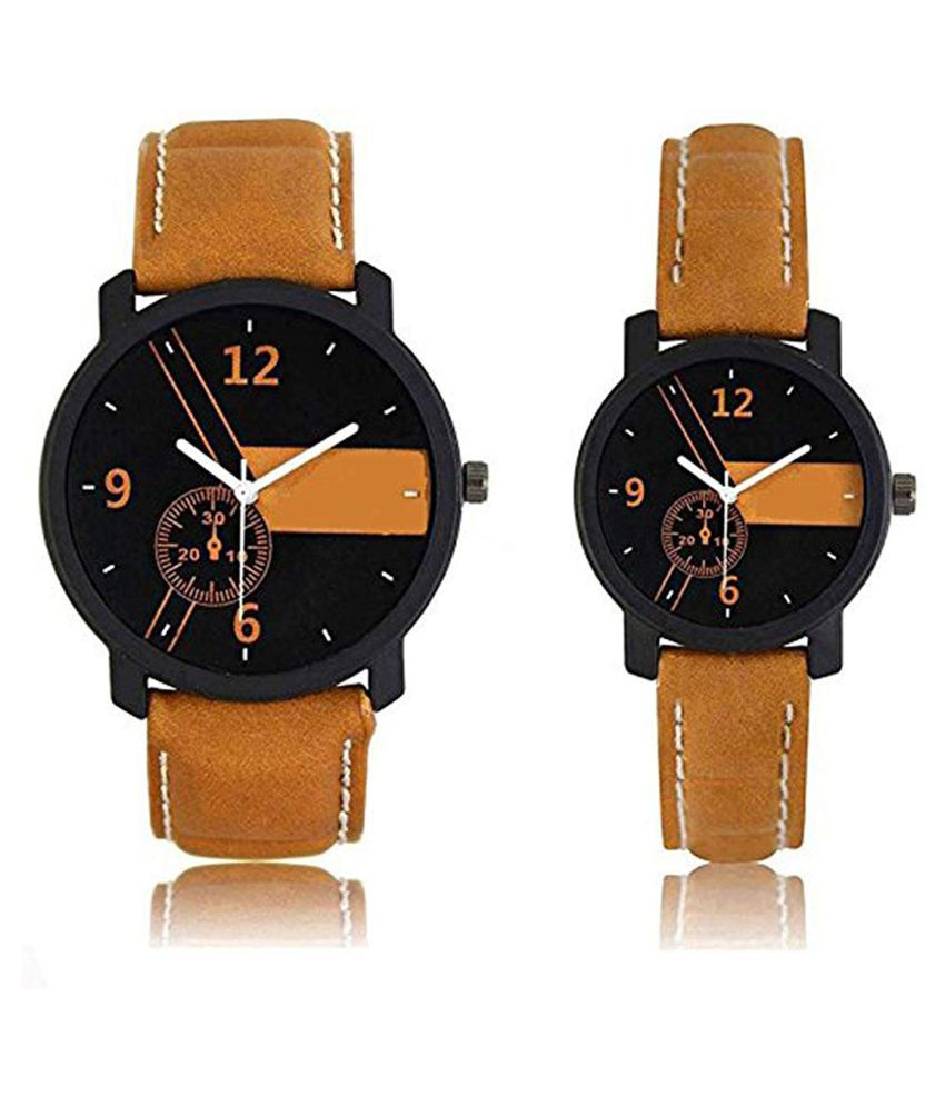 Multi Colour Dail-Tan Colour Leather Strap Analog Watch For Couple