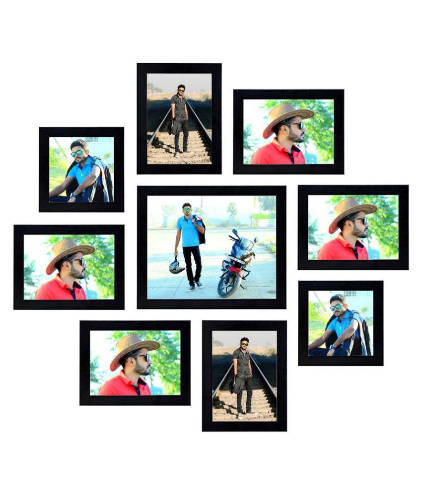 MAGIC GIFT Wood Wall Hanging Black Photo Frame Sets - Pack of 1