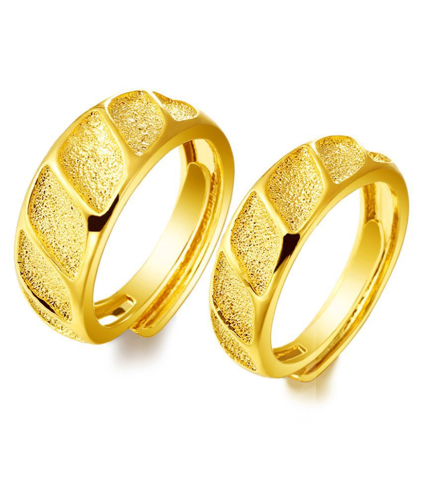 2Pcs Copper Plated Golden Color Imitation Golden Color Couple Ring Matte Fashion Jewellery