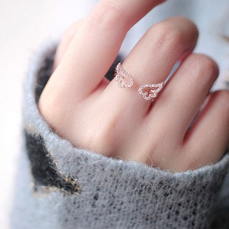 Cute Rose Golden Color Wings Open Ring Fashion Jewellery