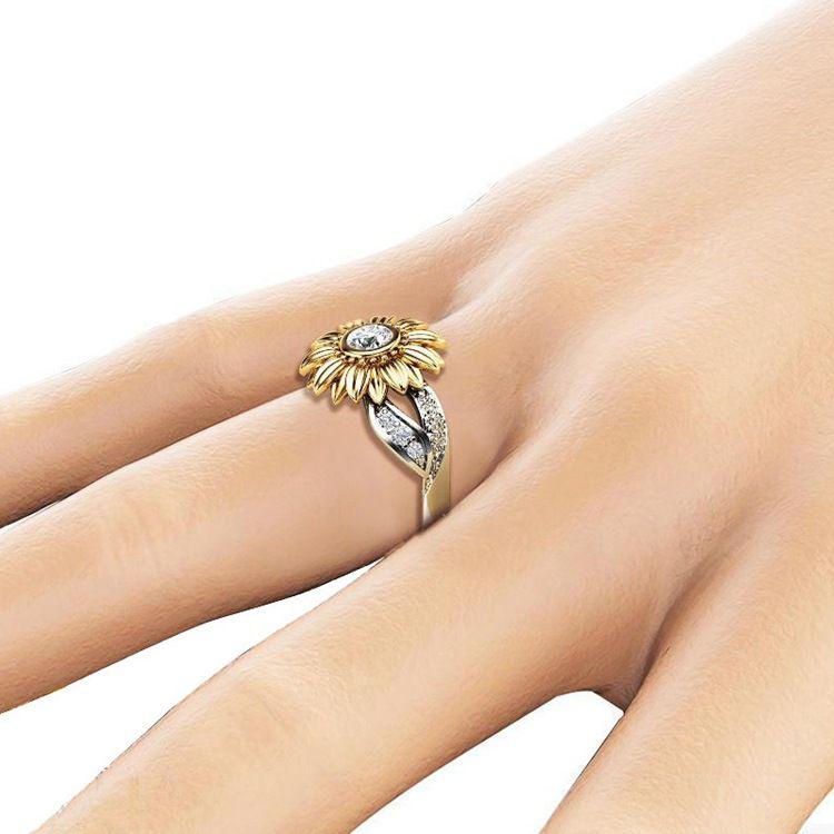 Fashion Two-Tone Sunflower Ring Fashion Jewellery