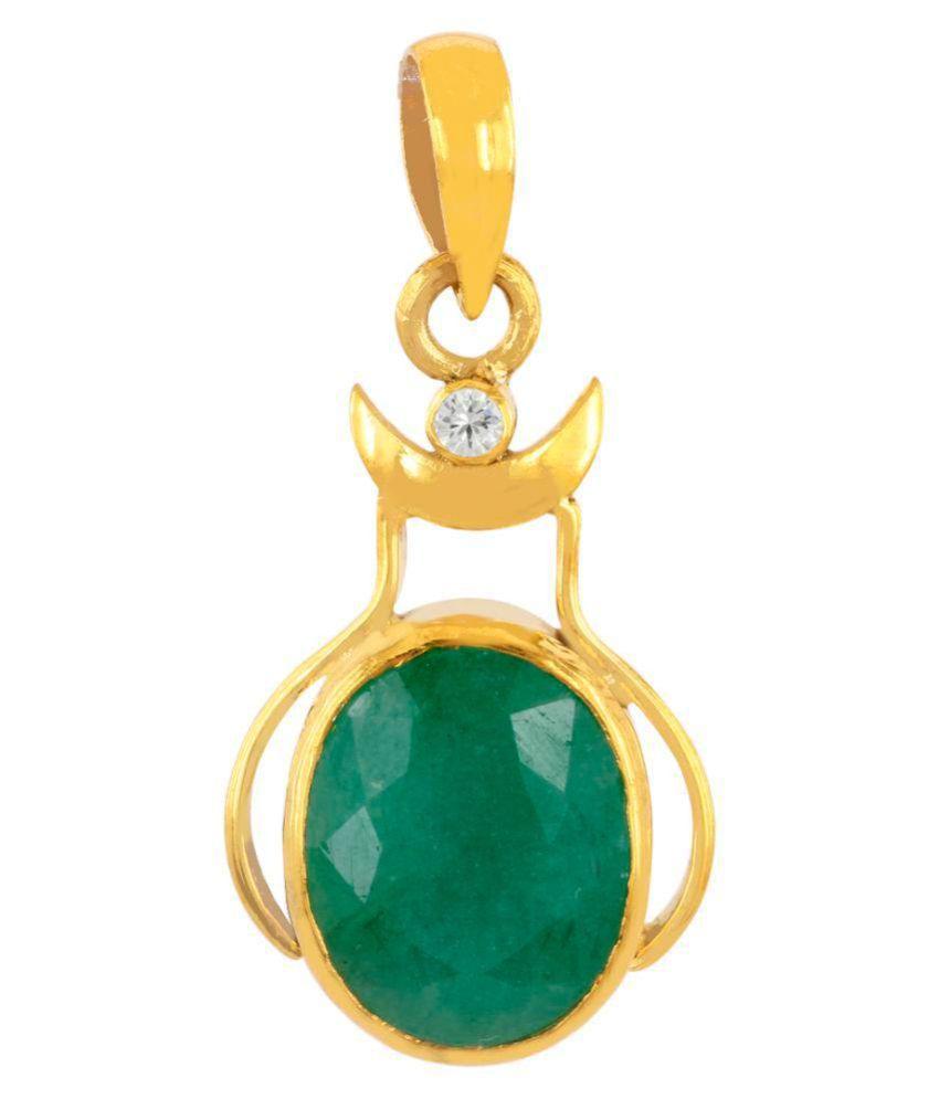 Avaatar 7.25 Ratti Certified Emerald Gemstone Fancy Pendant in Panchdhatu