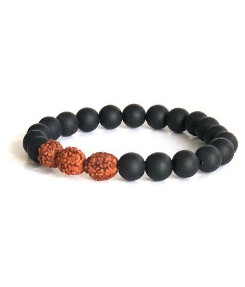 Black Onyx Matte Finish Rudraksha Bracelet