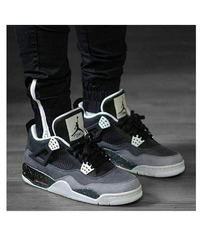more photos 12c90 f1f79 Nike Air Jordan 4 Retro Fear Pack Black Running Shoes - Buy Nike Air Jordan  4 Retro Fear Pack Black Running Shoes Online at Best Prices in India on  Snapdeal