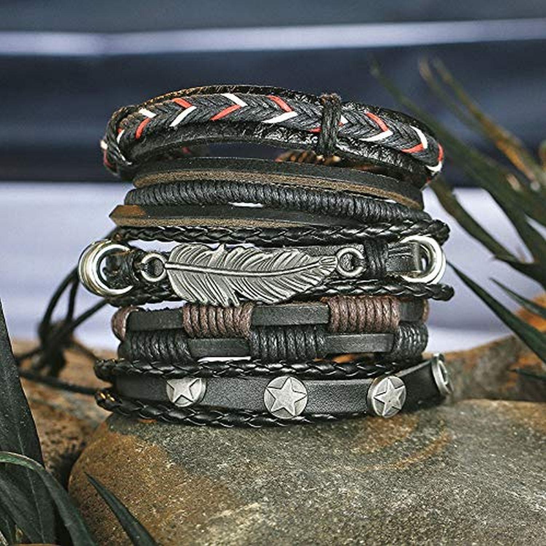 ZIVOM® Stylish Feather 100% Genuine Black Leather Wraps Casual Party Wear Skin Friendly Bracelets Pack of 5 Men Boys