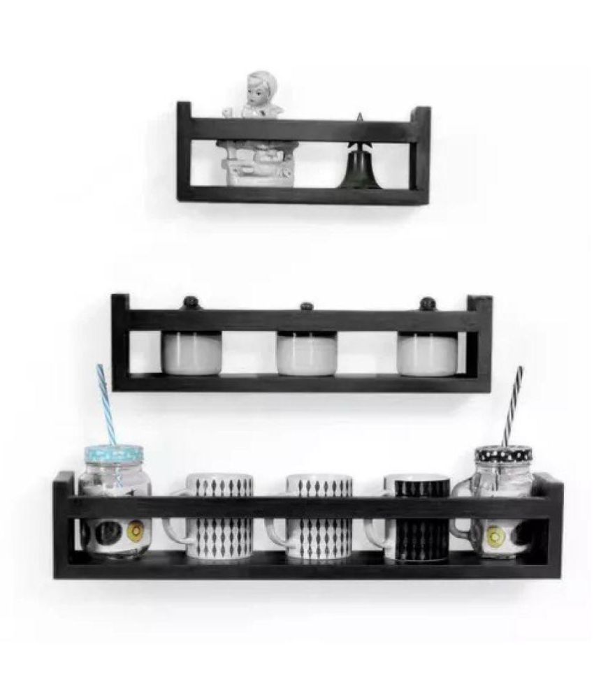 Onlineshoppee MDF Wall Decor Multipurpose Wall Shelf with 3 Shelves Colour - Black)