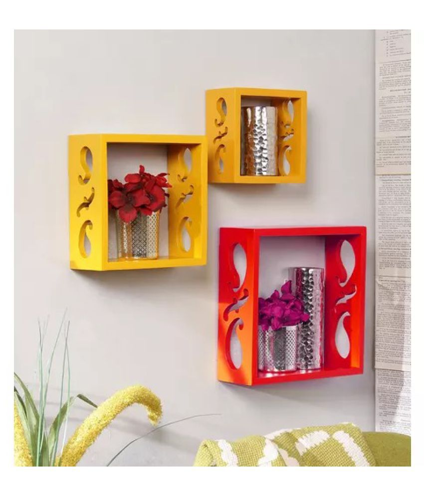 Onlineshoppee Square Nesting MDF Wall Shelf - Yellow & Red