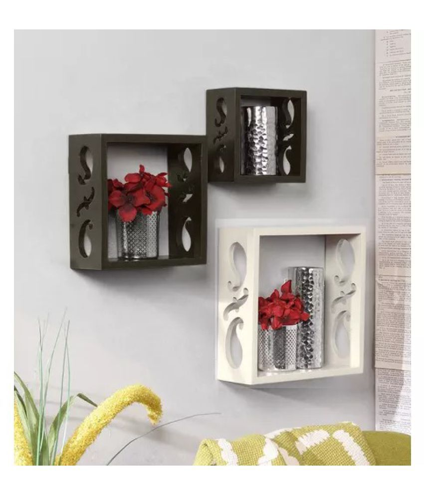 Onlineshoppee Square Nesting MDF Wall Shelf - Black & White