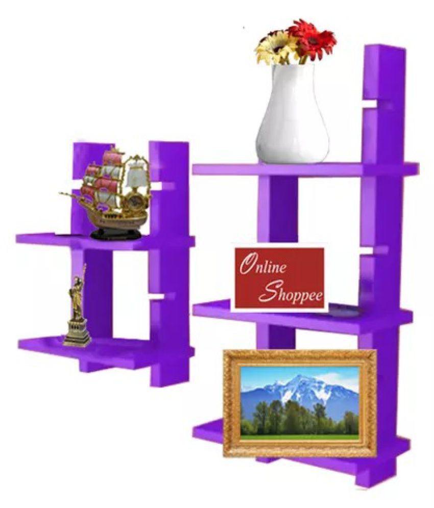 Onlineshoppee Escalera Wall Shelf 2 Pcs Purple