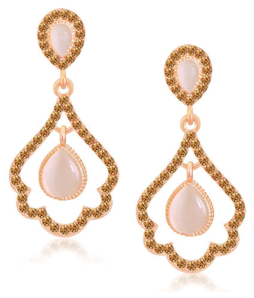 Sukkhi Glittery Rose Gold Plated LCT Stone Dangle Earrings For Women