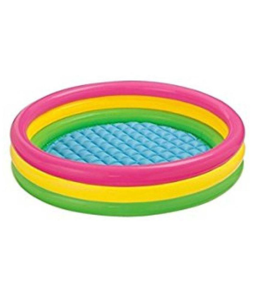 jk int Intex Baby Tub Kids Swimming Pool Inflatable 4 feet 45*10 Relax your child Bath Toy  (Multicolor)