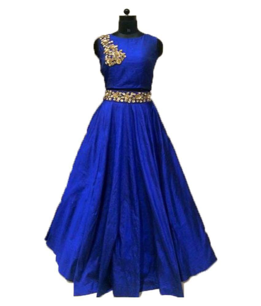 Chaniya choli Blue Bangalore Silk Circular Semi Stitched Lehenga