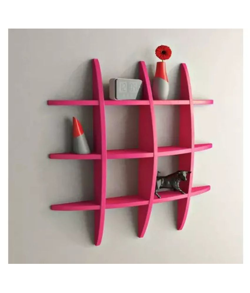 Onlineshoppee Big Tier MDF Wall Shelves - Pink