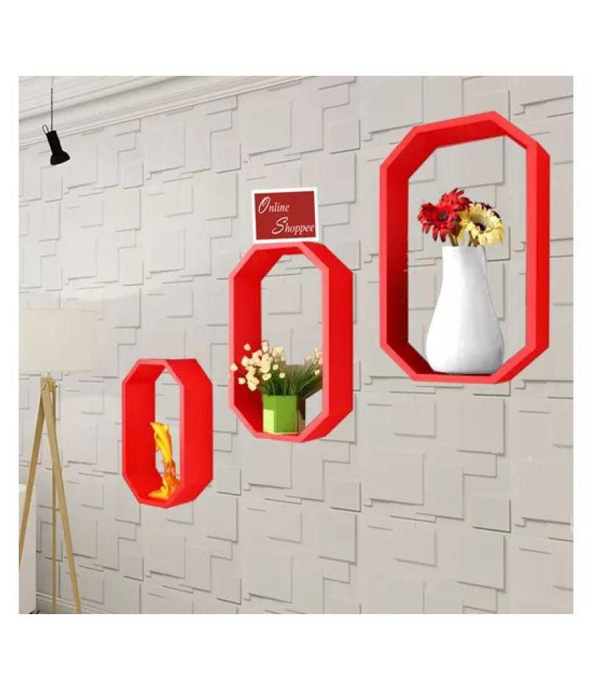 Onlineshoppee Fancy 3 Pcs Octagon Shaped MDF Wall Shelf - Red