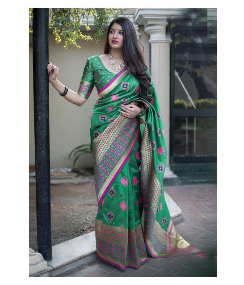 11ec0bea62 SareeShop Designer SareeS Green Kanchipuram Saree - Buy SareeShop ...