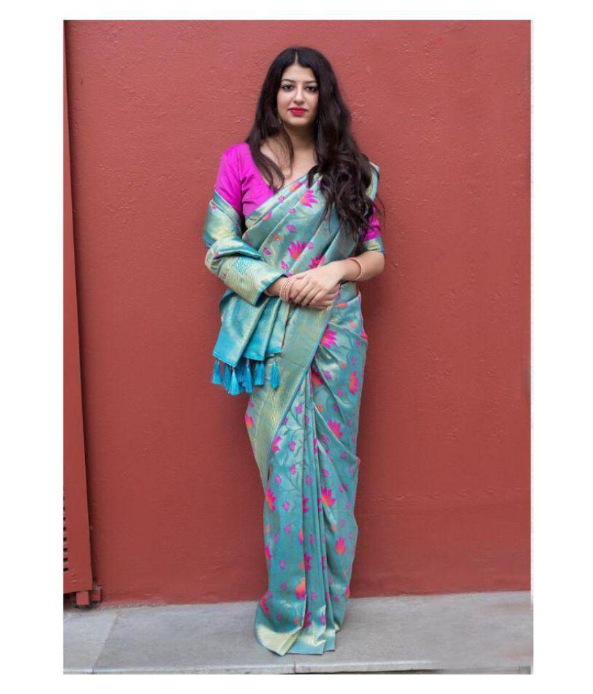 912c26bab1 SareeShop Designer SareeS Purple Kanchipuram Saree - Buy SareeShop ...