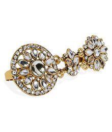 Zaveri Pearls Gold Tone Traditional Kundan Dual Finger Ring-ZPFK7446
