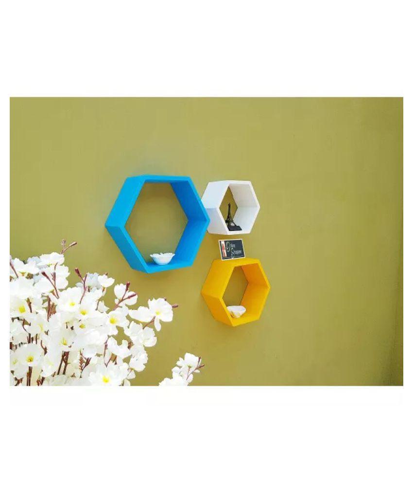 Onlineshoppee Fancy Set of 3 Hexagonal Shape MDF Wall Shelf Big Color- Sky Blue,Yellow,White