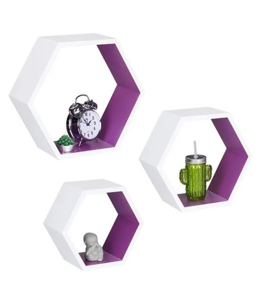 Onlineshoppee Hexagon Floating Wall Shelf Set of 3 ( White-Purple )