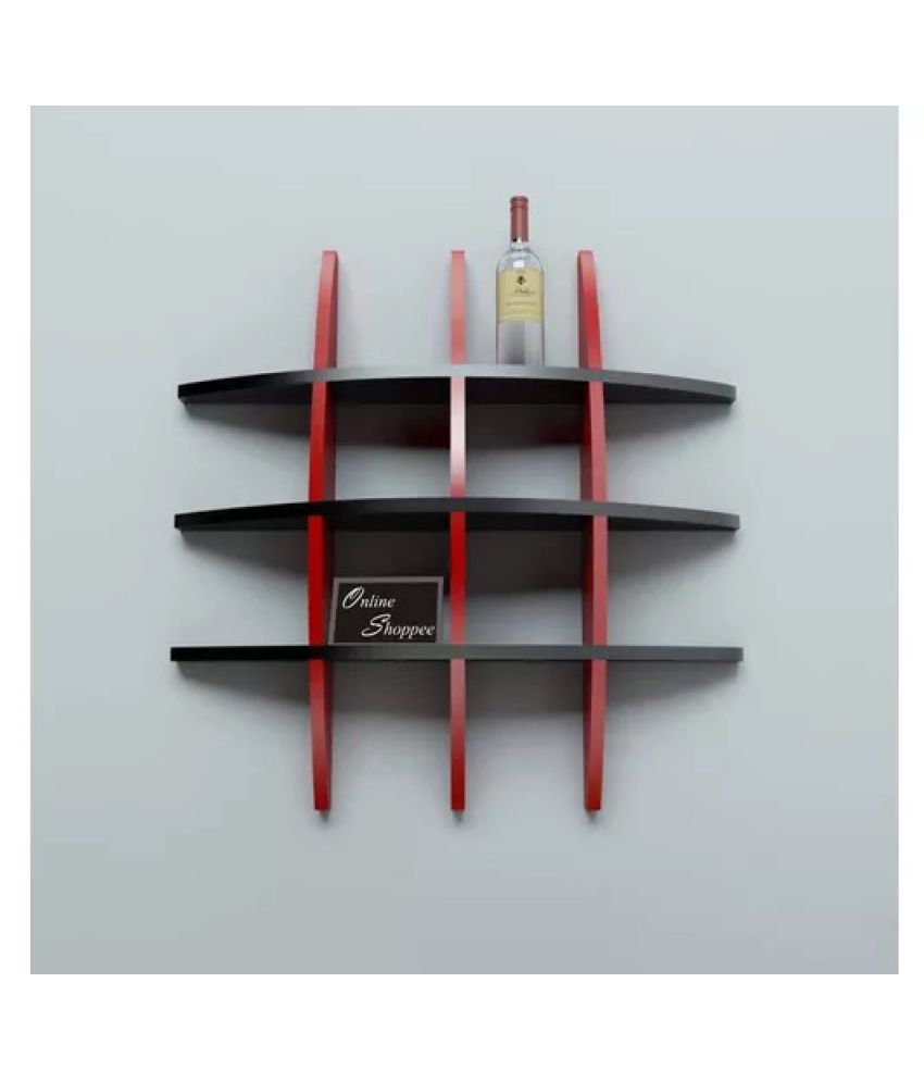 Onlineshoppee Big Tier MDF Wall Shelves Red, Black