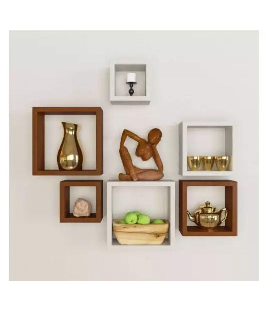 Onlineshoppee Square Nesting MDF Wall Shelf - White & Brown