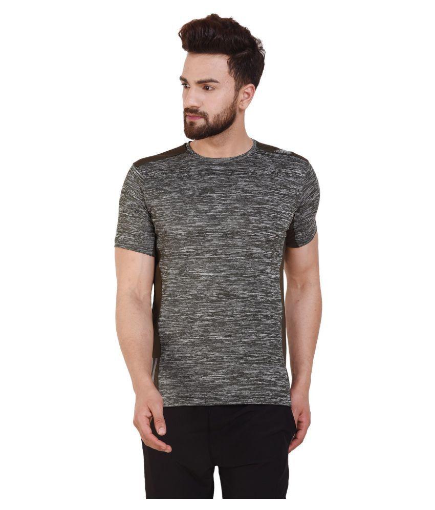 Adidas Grey Polyester Lycra T-Shirt Single Pack