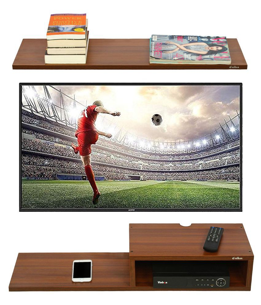Anikaa Willy TV Entertainment Unit/Wall Set Top Box Stand Shelf (Walnut Big)