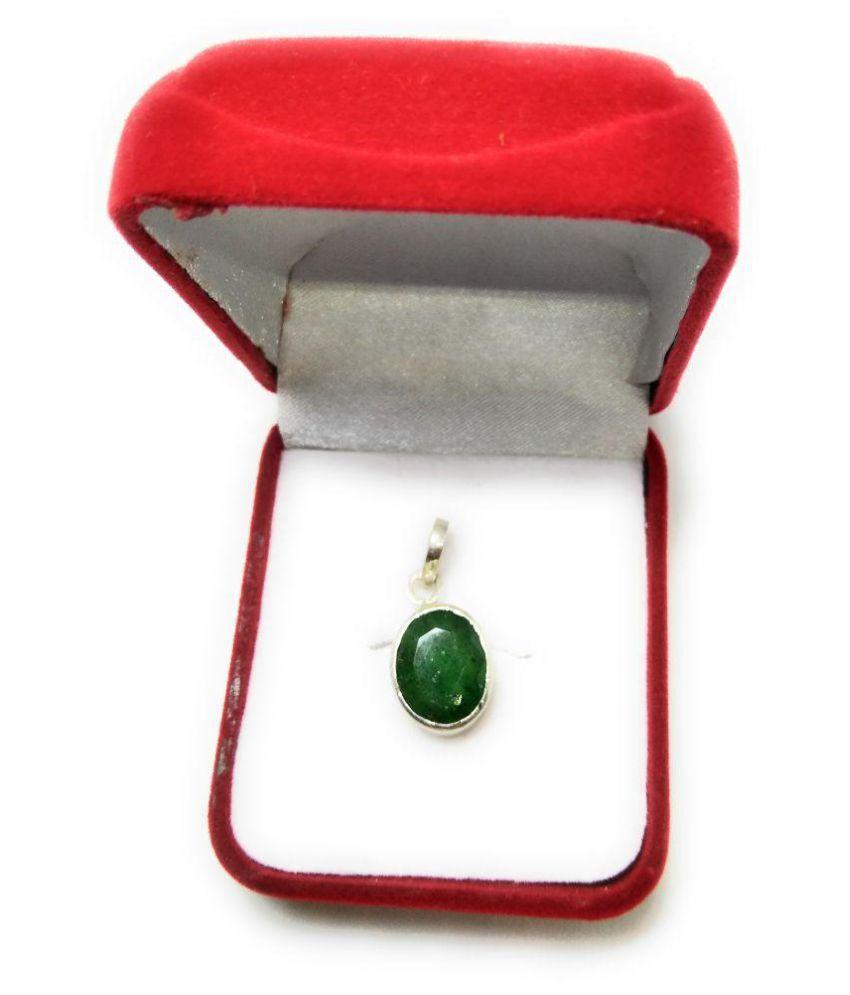 Emerald Panna Locket In Silver