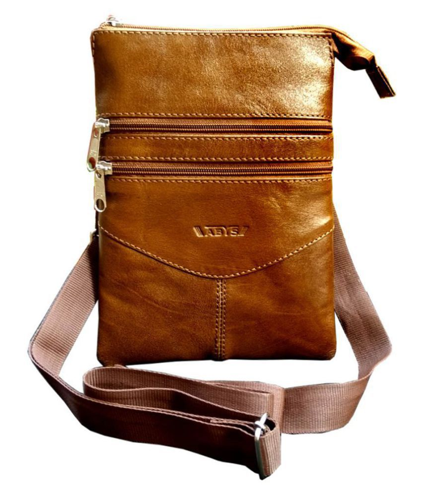 ABYS Tan Leather College Bag