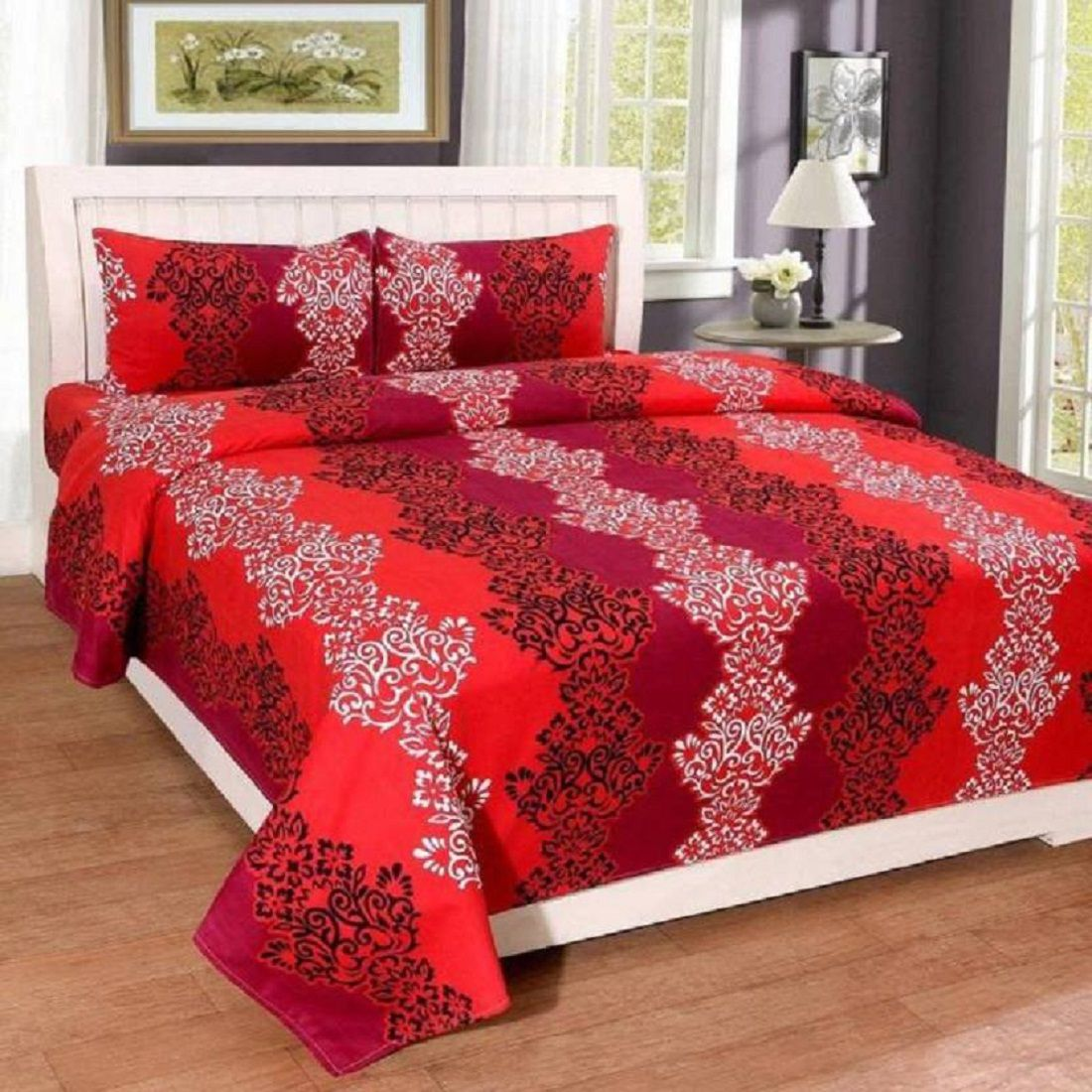 New panipat textile zone Microfibre Double Bedsheet with 2 Pillow Covers