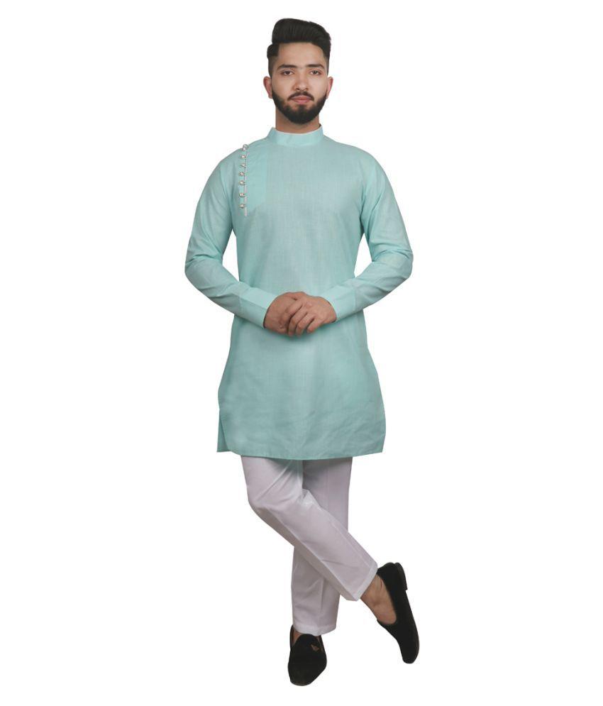 SG LEMAN Green Cotton Kurta Pyjama Set