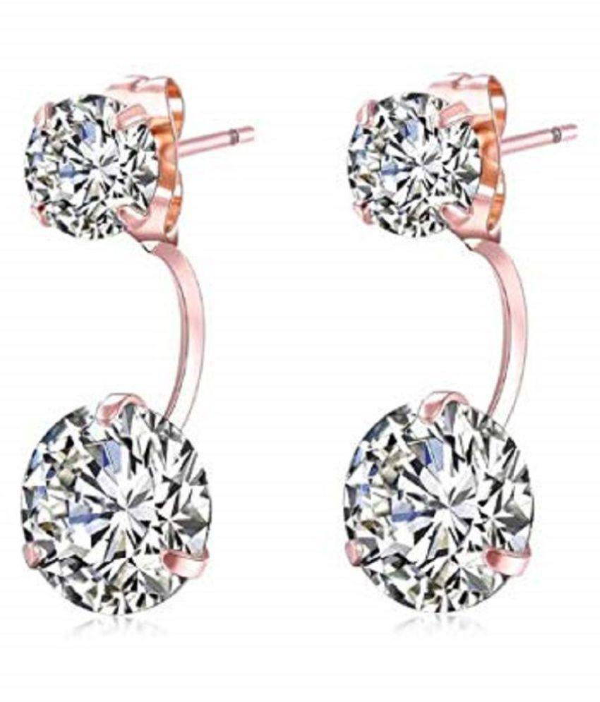 GirlZ! Rose Gold Plated Charm Simple Elegant Double Side Two Crystals Earrings for women