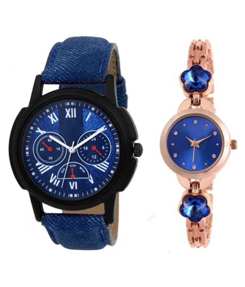 New classic set of two leather and metal strap combo deal for couple